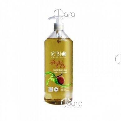 C'BIO dušo ir plaukų šampūnas 2in1 persikų ir abrikosų aromato, 1l
