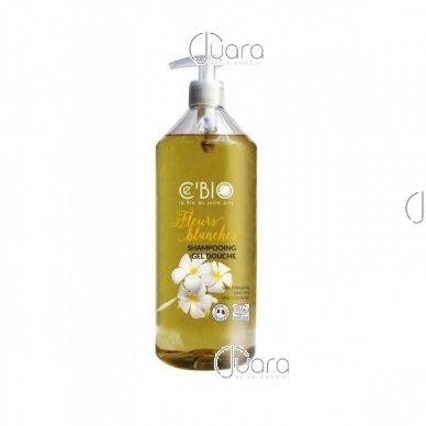 C'BIO dušo ir plaukų šampūnas 2in1 baltųjų gėlių aromato, 1l